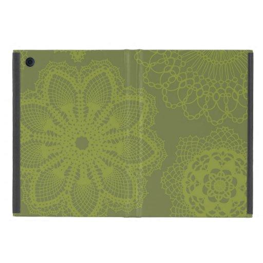 Olive Green Lace Doily Mandala Medallion Print iPad Mini Covers