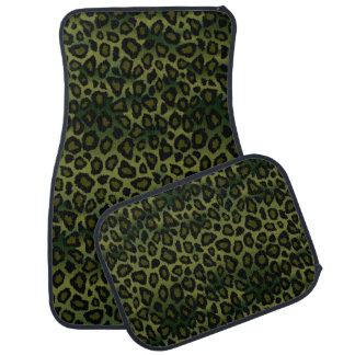 Olive Green Leopard Animal Print Car Mat