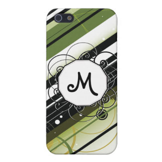 Olive Green Modern-Retro Stripes with Monogram iPhone 5 Case