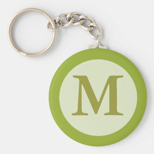 olive green monogram basic round button key ring
