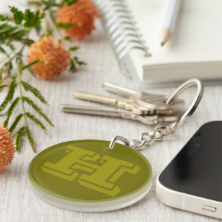 Olive Green Monogrammed Custom Initial Monogram H Double-Sided Round Acrylic Key Ring