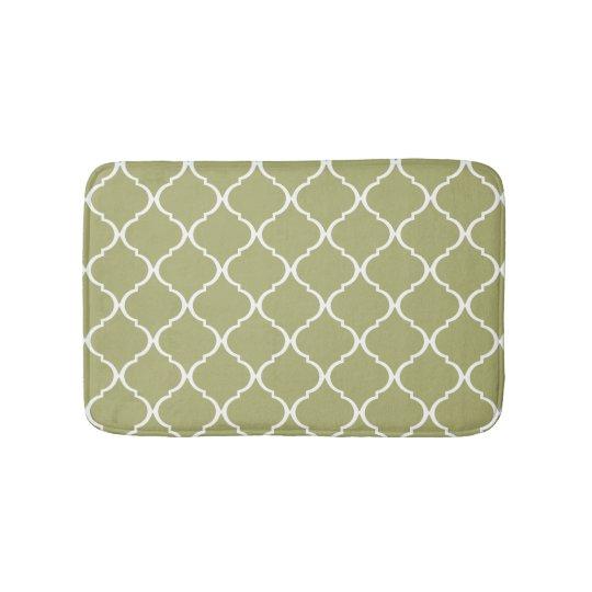 Olive Green Moroccan Lattice Pattern Bath Mats