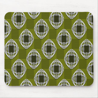 Olive Green Nouveau Checked Pattern Mouse Mat