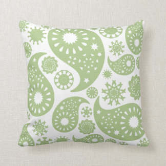 Olive Green Paisley Pattern. Cushion