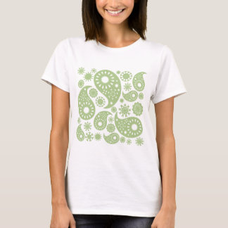Olive Green Paisley Pattern. T-Shirt