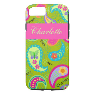 Olive Green Pink Modern Paisley Name Personalized iPhone 7 Case