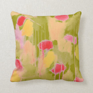 Olive Green Pink Yellow Abstract Art Throw Pillow Throw Cushion