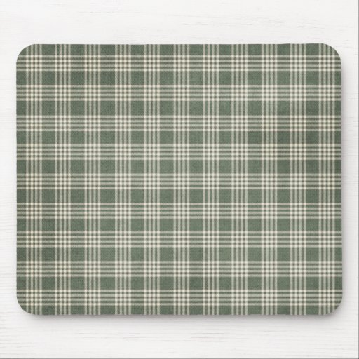 Olive Green Plaid Mouse Pads