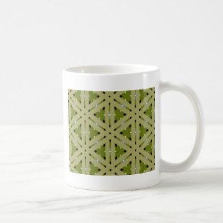 Olive green plaid pattern repeat basic white mug