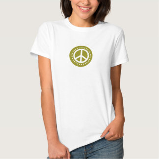 Olive Green Polka Dot Peace Sign T-Shirt