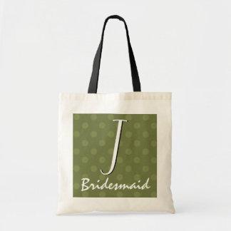 Olive Green Polka Dots Monogram Bridesmaid Tote Bag