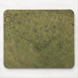 Olive Green Retro Flowers and Butterflies Abstract Mouse Pad