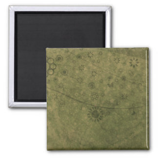 Olive Green Retro Flowers and Butterflies Abstract Square Magnet