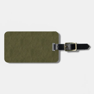 Olive Green Retro Grunge Leather Texture Luggage Tag