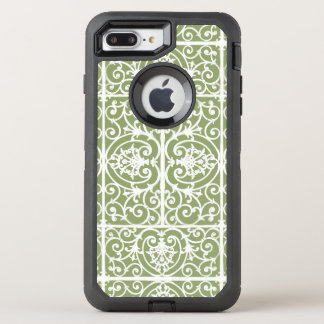 Olive green scrollwork pattern OtterBox defender iPhone 7 plus case