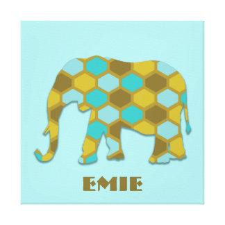 Olive Green Sky Blue Pattern Elephant Canvas Print