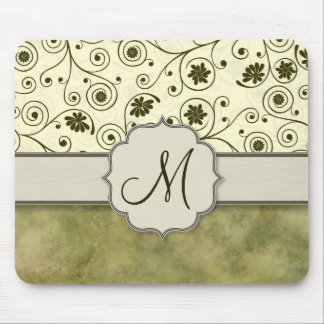Olive Green Spiral Vine Floral Mousepad