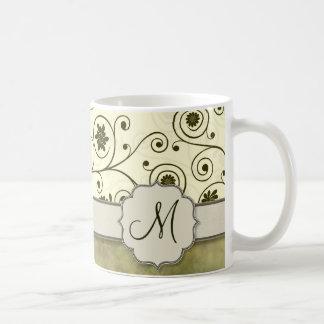 Olive Green Spiral Vine Floral Coffee Mugs