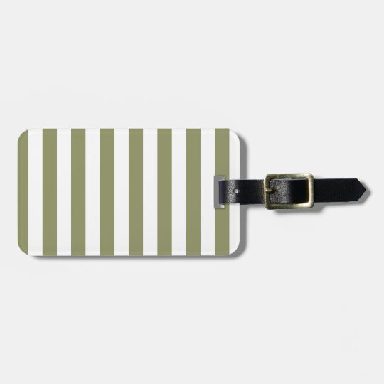 Olive Green Stripe Luggage Tag