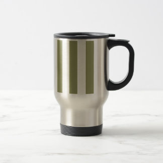 Olive Green Stripe Stainless Steel Travel Mug