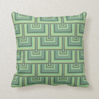 Olive green stripes square scales pattern throw pillow