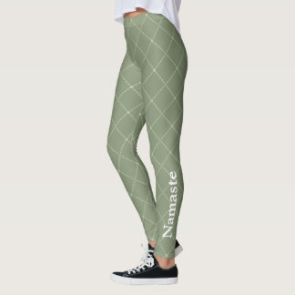 Olive green stylised diamond shape with Namaste Leggings