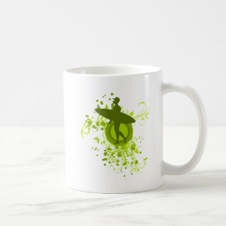 Olive Green Surfer Silhouette Mugs