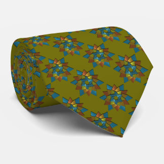 Olive Green Teal Blue Rust Star of David Pattern Tie