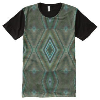 Olive green teal shapes abstract All-Over print T-Shirt