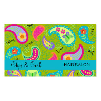 Olive Green Turquoise Blue Modern Paisley Pattern Pack Of Standard Business Cards