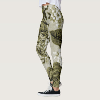 Olive Green Vintage Floral Toile No.1 Leggings