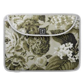 Olive Green Vintage Floral Toile No.1 Sleeve For MacBooks
