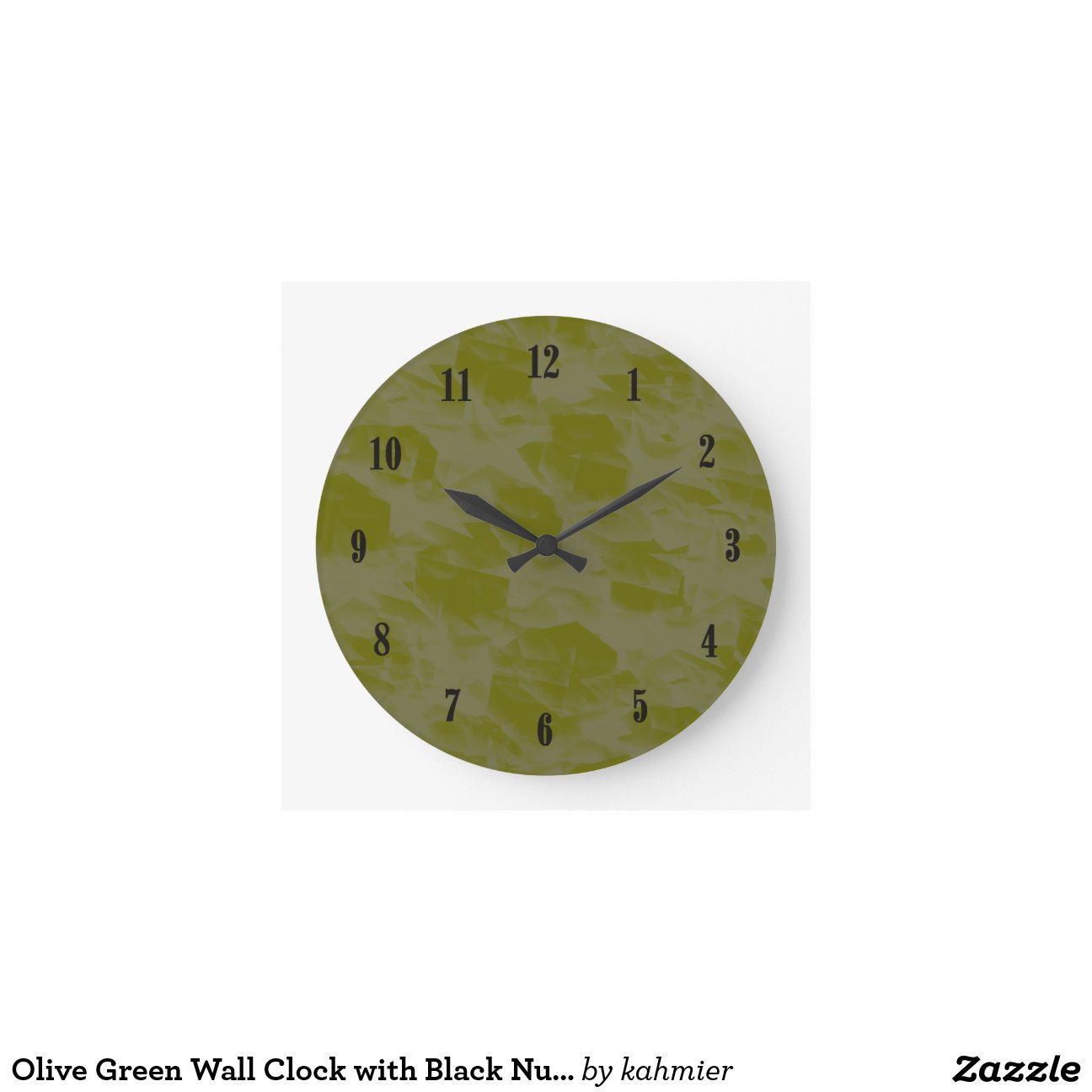 Olive green wall clock with black numbers zazzle for Green wall clocks uk