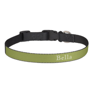 Olive Green White Lettering Custom Name Minimalist Pet Collar