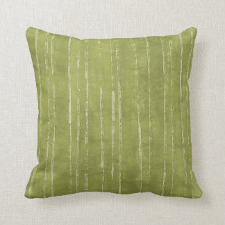 Olive green & white stripe pattern cushion