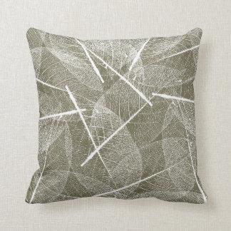 Olive Green with White Vein Leaf Design Cushion