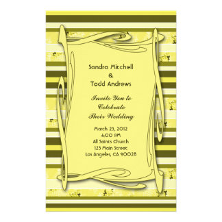 Olive Green Yellow  Striped Wedding Custom Stationery