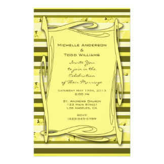 Olive Green Yellow Striped Wedding Personalized Flyer