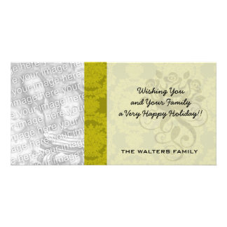 olive greens formal damask pattern photo card template