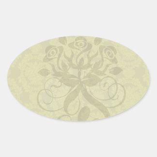 olive greens formal damask pattern oval sticker