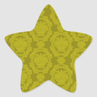 olive greens formal damask pattern star stickers