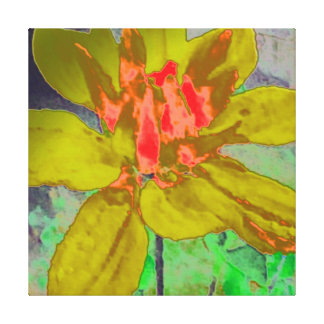 OLIVE GREN ABSTRACT DAHLIA FLORAL FLOWER GALLERY WRAPPED CANVAS