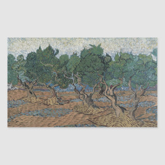 Olive Grove by Vincent Van Gogh Rectangular Stickers