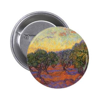 Olive Grove, Orange Sky by Vincent van Gogh Button