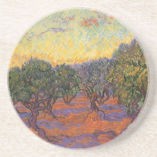 Olive Grove, Orange Sky by Vincent van Gogh Beverage Coasters