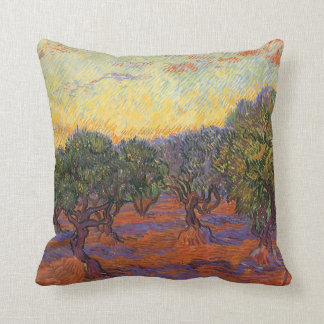Olive Grove, Orange Sky by Vincent van Gogh Cushion