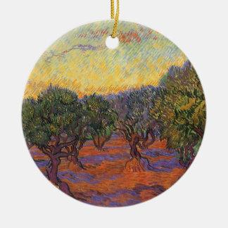 Olive Grove Orange Sky by Vincent van Gogh Ornament