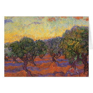 Olive Grove, Orange Sky by Vincent van Gogh Greeting Card