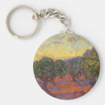 Olive Grove, Orange Sky by Vincent van Gogh Basic Round Button Key Ring
