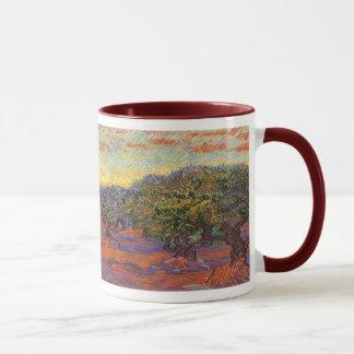 Olive Grove, Orange Sky by Vincent van Gogh Mug